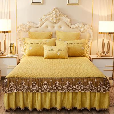 2020新款花的故事系列床裙 150cmx200cm单床裙 花的故事-靓丽黄