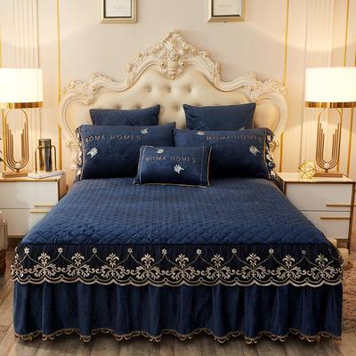 2020新款花的故事系列床裙 150cmx200cm单床裙 花的故事-深蓝