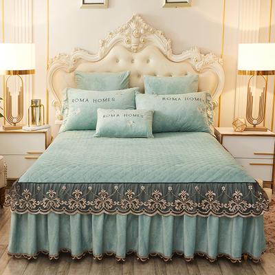 2020新款花的故事系列床裙 150cmx200cm单床裙 花的故事-松石绿