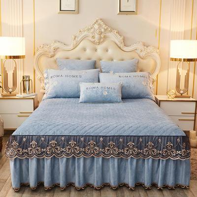 2020新款花的故事系列床裙 150cmx200cm单床裙 花的故事-蔚蓝
