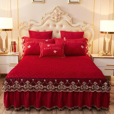 2020新款花的故事系列床裙 150cmx200cm单床裙 花的故事-中国红