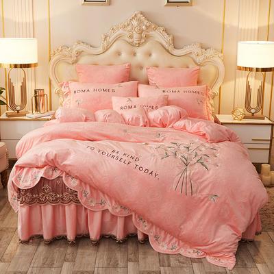 2020新款花的故事四件套水晶绒 1.8m床裙款四件套 花的故事-粉玉