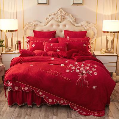 2020新款花的故事四件套水晶绒 1.8m床裙款四件套 花的故事-中国红