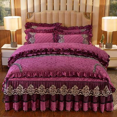 2020新款皇家风范床裙四件套天鹅绒 1.8m床裙款四件套 皇家风范-酒红