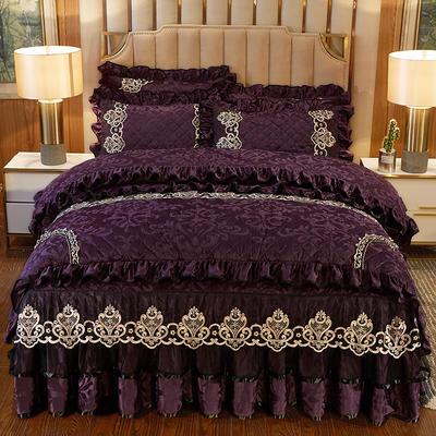 2020新款皇家风范床裙四件套天鹅绒 1.8m床裙款四件套 皇家风范-魅紫
