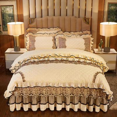 2020新款皇家风范床裙四件套天鹅绒 1.8m床裙款四件套 皇家风范-米黄