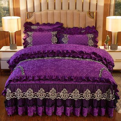 2020新款皇家风范床裙四件套天鹅绒 1.8m床裙款四件套 皇家风范-紫色