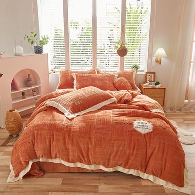 2021新款牛奶绒贴布刺绣四件套系列—可可西里 1.8m床单款四件套 橘红