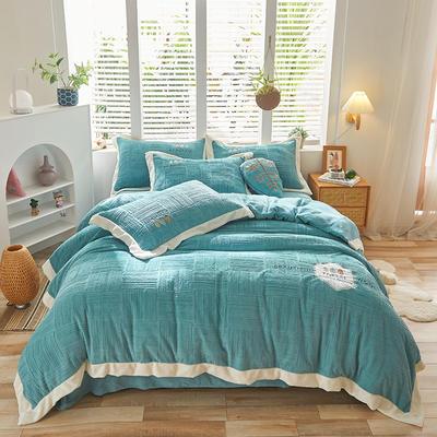 2021新款牛奶绒贴布刺绣四件套系列—可可西里 1.8m床单款四件套 蓝色