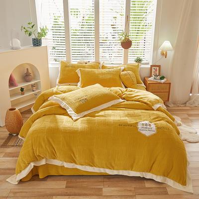 2021新款牛奶绒贴布刺绣四件套系列—可可西里 1.8m床单款四件套 靓丽黄