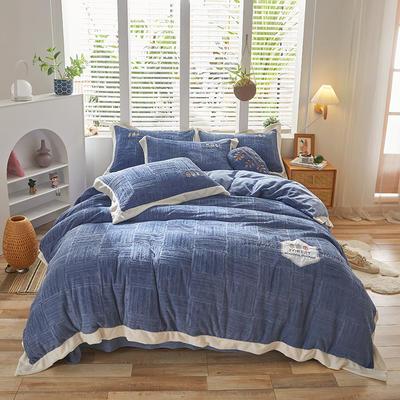 2021新款牛奶绒贴布刺绣四件套系列—可可西里 1.8m床单款四件套 深蓝
