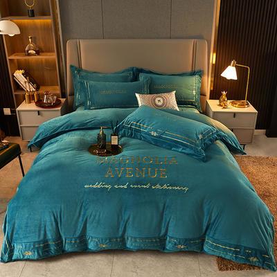 2021新款水晶绒刺绣系列四件套—托尼斯 1.8m床单款四件套 孔雀蓝