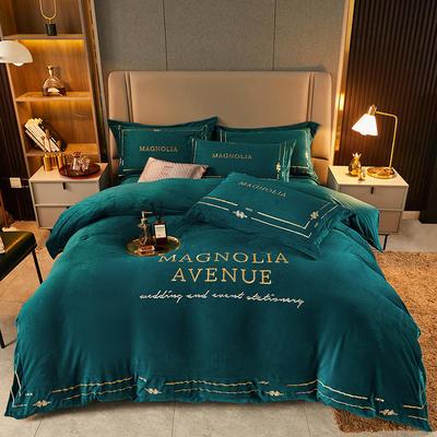 2021新款水晶绒刺绣系列四件套—托尼斯 1.8m床单款四件套 孔雀绿