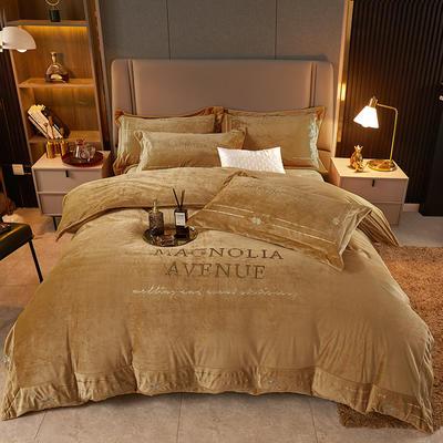 2021新款水晶绒刺绣系列四件套—托尼斯 1.8m床单款四件套 驼色