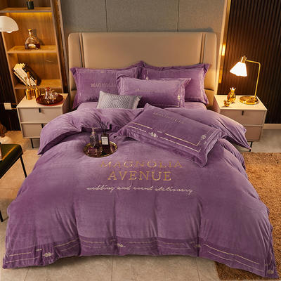2021新款水晶绒刺绣系列四件套—托尼斯 1.8m床单款四件套 紫色