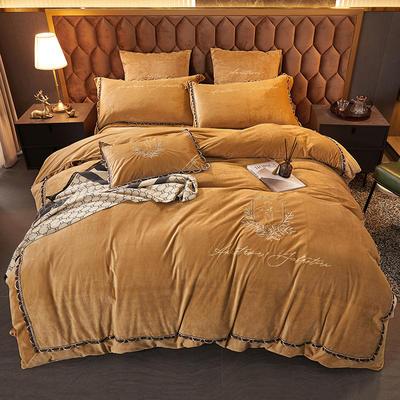 2021新款保暖水晶绒刺绣四件套-维尼雅系列 1.8m床单款四件套 驼色