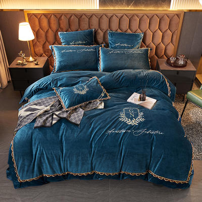 2021新款保暖水晶绒刺绣四件套-维尼雅系列 1.8m床单款四件套 宝石蓝