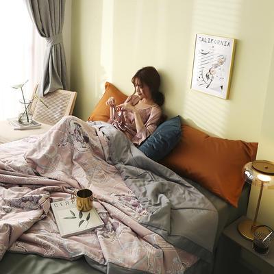 卡罗印花天丝夏被 200X230cm 粉色