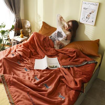 马德里天丝夏被爱马仕桔-模特棚拍 200x230cm单夏被 爱马仕桔