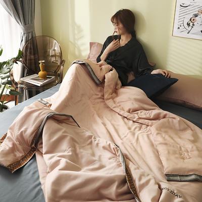 马德里天丝夏被爱马仕桔-模特棚拍 200x230cm单夏被 粉色