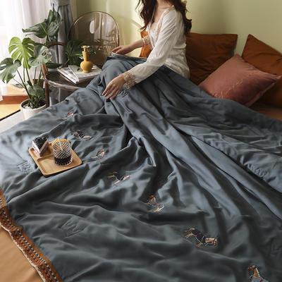 马德里天丝夏被爱马仕桔-模特棚拍 200x230cm单夏被 蓝色