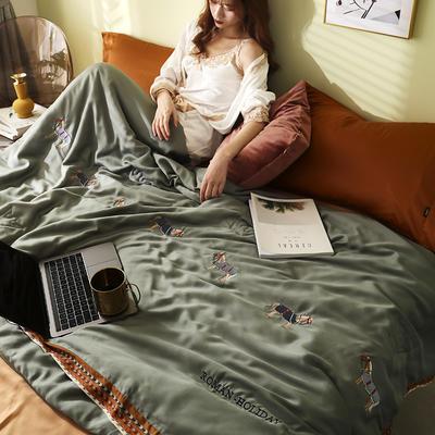 马德里天丝夏被爱马仕桔-模特棚拍 200x230cm单夏被 绿色