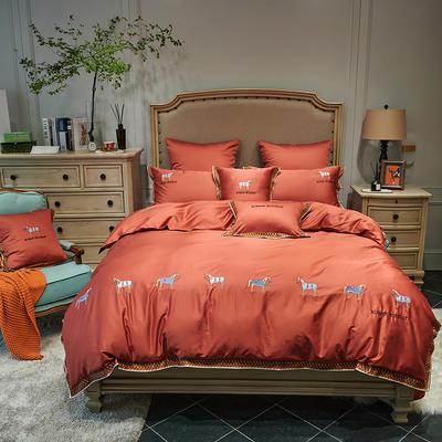 2020新款60长绒棉面料拼接数码印花花边加高密度彩色绣花马德里四件套 1.8m床单款四件套 爱马士-橙