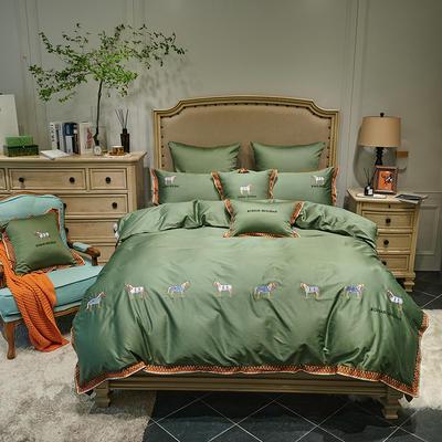 2020新款60长绒棉面料拼接数码印花花边加高密度彩色绣花马德里四件套 1.8m床单款四件套 橄榄绿