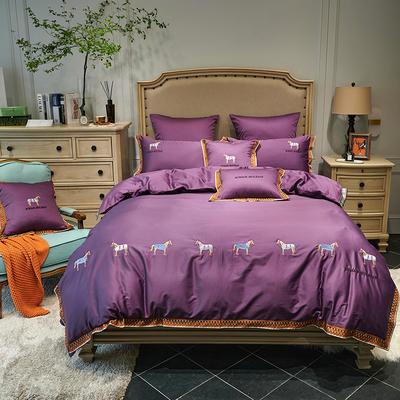 2020新款60长绒棉面料拼接数码印花花边加高密度彩色绣花马德里四件套 1.8m床单款四件套 冷艳紫
