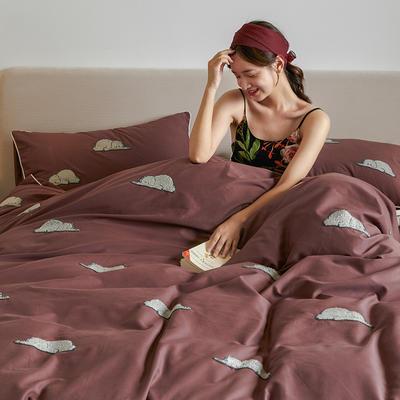 2021新款磨毛毛巾绣四件套(棚拍) 1.8m床单款四件套 吉米拉-暗红色