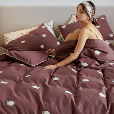2021新款磨毛毛巾绣四件套(棚拍) 1.8m床单款四件套 肖恩羊-暗红色