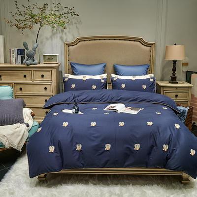 2021新款磨毛毛巾绣四件套(实拍) 1.8m床单款四件套 朵瑞拉-藏蓝色
