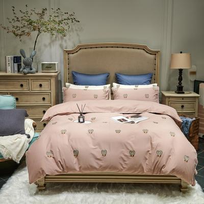 2021新款磨毛毛巾绣四件套(实拍) 1.8m床单款四件套 朵瑞拉-藕粉色