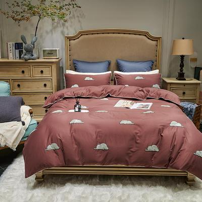 2021新款磨毛毛巾绣四件套(实拍) 1.8m床单款四件套 吉米拉-暗红色