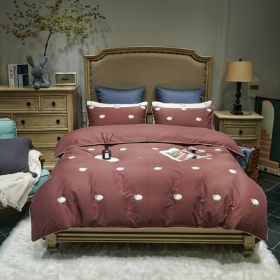 2021新款磨毛毛巾绣四件套(实拍) 1.8m床单款四件套 肖恩羊-暗红色