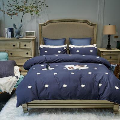 2021新款磨毛毛巾绣四件套(实拍) 1.5m床单款四件套 肖恩羊-藏蓝色