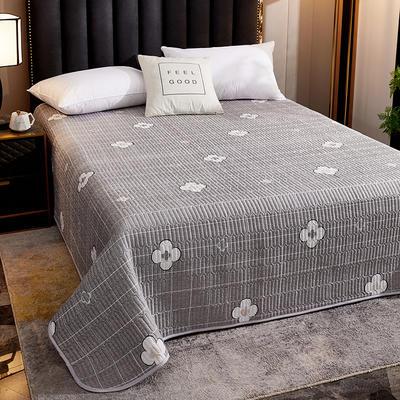 2020新款单双人夏凉被夏被空调被可水洗床盖 150cmx200cm 四叶草-灰