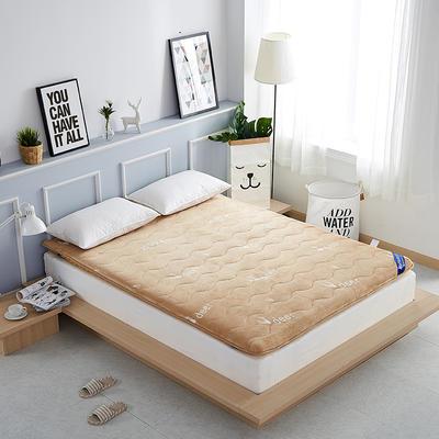2019新款-法莱绒加厚小麋鹿床垫 0.9*2.0米 驼色