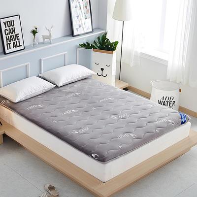 2019新款-法莱绒加厚小麋鹿床垫 0.9*2.0米 灰色