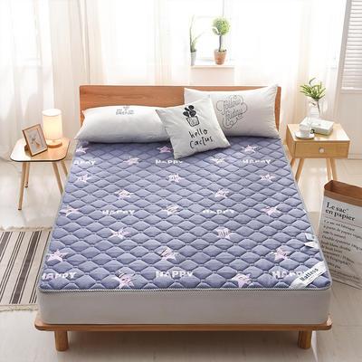 2019新款-英威达全棉抗菌床垫印花(薄款) 0.9*2.0米 星星-蓝