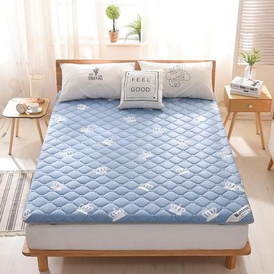 2019新款-英威达全棉抗菌床垫印花(厚款) 0.9*2.0米 皇冠-蓝