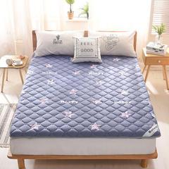 2018新款-英威达全棉抗菌床垫印花(厚款) 2.0*2.0米 星星-蓝