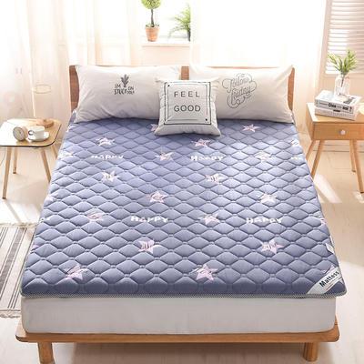 2019新款-英威达全棉抗菌床垫印花(厚款) 0.9*2.0米 星星-蓝