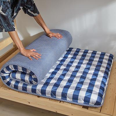 2019新款-全棉加厚床垫 0.9*2.0/0.9*1.9 蓝格