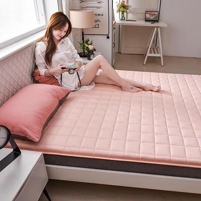 2020新款全棉小方格床垫 0.9*2.0 蜜桃粉1.5公分