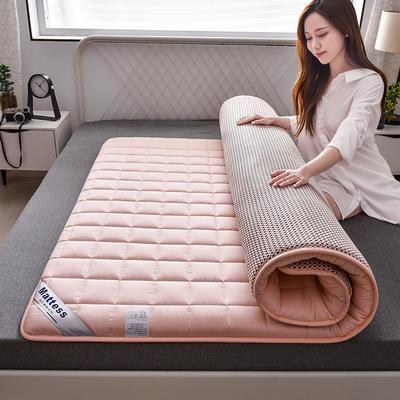 2020新款全棉小方格床垫 0.9*2.0 蜜桃粉4.5公分