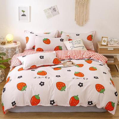 2020新款芦荟棉四件套乐肤棉四件套(1) 1.5m(5英尺)床 草莓派对