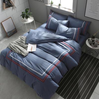 英吉利--简约英伦风四件套 床单款(1.5-1.8米床) 英吉利-灰蓝