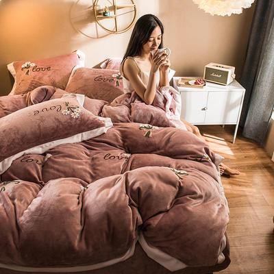 2019新款小雏菊毛巾绣牛奶绒四件套 1.8m床单款 小雏菊  灰粉