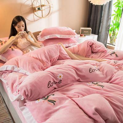 2019新款小雏菊毛巾绣牛奶绒四件套 1.8m床单款 小雏菊  浪漫粉